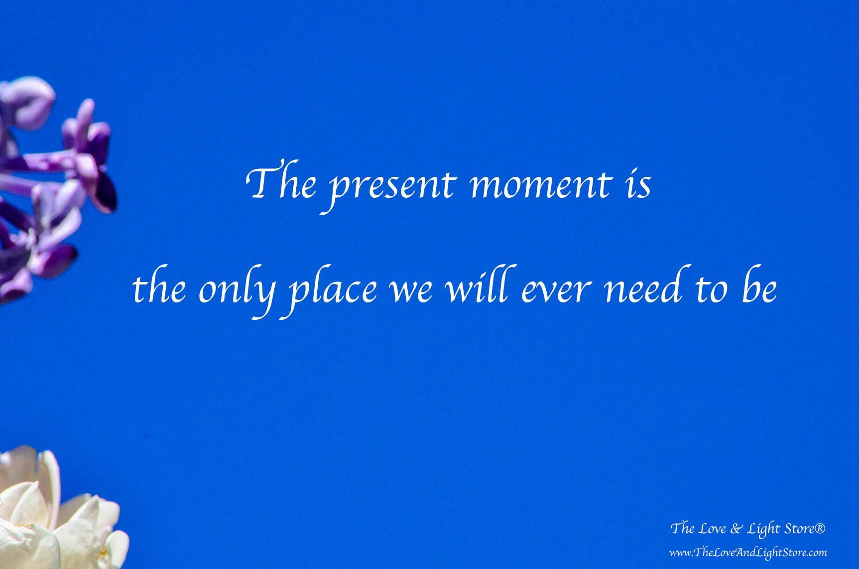 The present moment is the only place we will ever need to be