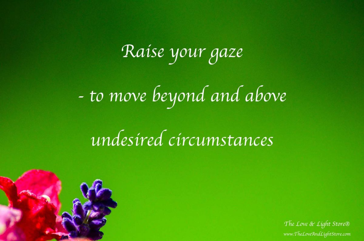 To raise the gaze beyond our present circumstances is the only way to truly go above and beyond them, calling forth that which we deisre into manifestation.