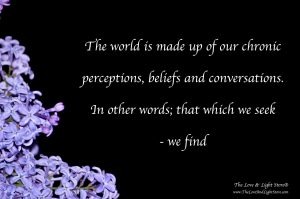 The world is made up by our chronic perceptions, beliefs and conversations.