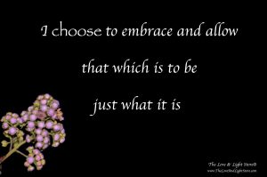 I choose to embrace and allow that which is to be just what it is. This is the art of acceptance, the mastery of non-attachment.
