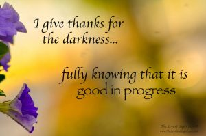 I give thanks for the darkness, fully knowing that it is good in progress