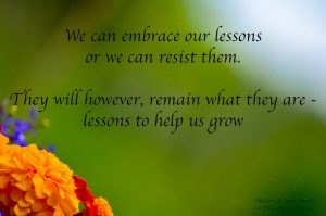 We can embrace our lessons or we can resist them. They will however always remain what they are. Lessons to help us grow